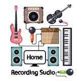 Home Recording Studio with Musical Instruments. Plugged Stock Images