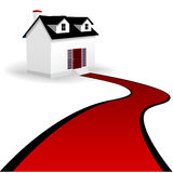 Home with Red Carpet Driveway to the House. A home with two dormer windows and a winding red carpet driveway to the steps of the house. On white Stock Photo