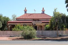 Home with red roof in Kalgoorlie in Western Australian outback. Kalgoorlie, part of the City of Kalgoorlie-Boulder, is a city in the Goldfields-Esperance region Royalty Free Stock Photo