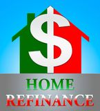 Home Refinance Showing Equity Mortgage 3d Illustration. Home Refinance Dollar Icon Showing Equity Mortgage 3d Illustration Royalty Free Stock Photos