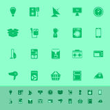 Home related color icons on green background Royalty Free Stock Photo