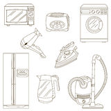 Home related electronic apparatus icon set Royalty Free Stock Photos