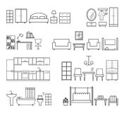 Home related icons. Furniture for different rooms Stock Photos