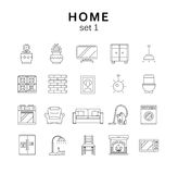 Home related icons set1, vector illustration, line icons Stock Photo
