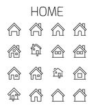 Home related vector icon set. Well-crafted sign in thin line style with editable stroke. Vector symbols isolated on a white background. Simple pictograms Royalty Free Stock Photography