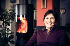 home relaxing senior woman Στοκ Εικόνα