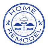 Home remodel stamp. House repair company logo on grunge background Stock Photo
