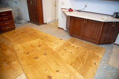 Home Remodeling, Kitchen Floor, Flooring. Home kitchen remodeling construction project. A house is getting a new floor. Plywood install is a subfloor. Sub floors royalty free stock photography