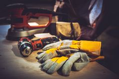 Home Remodeling Works. Construction Tools and Safety Gloves Stock Photography