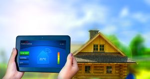 Home remote control. Temperature Home Control on tablet. Wifi connection Royalty Free Stock Image