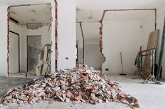 Home renovation. Renovation and demolition of the walls in apartment Royalty Free Stock Photography