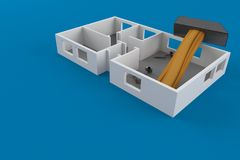 Home renovation concept. Isolated on blue background. 3d illustration Royalty Free Stock Photography