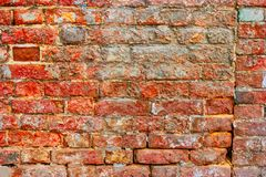 Home renovation concept. Worn red brick wall needs repair. Home renovation concept. Weathered red brick wall needs repair royalty free stock photos