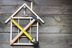 Home renovation construction abstract background with tools Royalty Free Stock Images