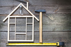 Home renovation construction abstract background with tools Stock Image