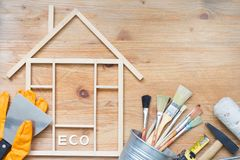 Home renovation construction abstract background with tools on wooden boards top view and free place royalty free stock image