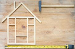 Home renovation construction abstract background with tools on wooden boards top view and free place stock photos