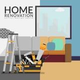 Home renovation contractor concept. vector illustration of room vector illustration