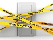 Home renovation. 3d illustration of door and 'home renovation' tape Stock Photography