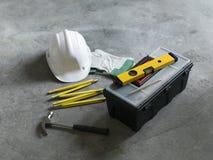 Home renovation and DIY tools still life stock photo