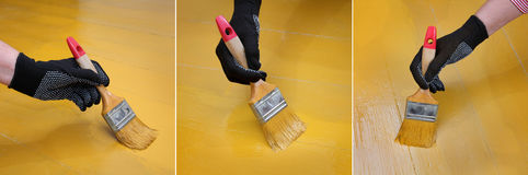 Home renovation, floor painting Royalty Free Stock Photography