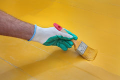 Home renovation, floor painting Royalty Free Stock Image