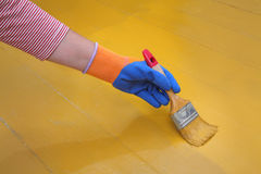 Home renovation, floor painting Royalty Free Stock Images