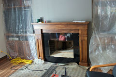 Home Renovation Gas Fireplace Royalty Free Stock Photography