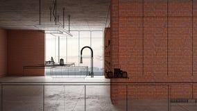 Home renovation, house development concept background, interior design under construction, custom architecture design project,. Black ink sketch, blueprint vector illustration