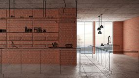 Home renovation, house development concept background, interior design under construction, custom architecture design project,. Black ink sketch, blueprint stock illustration