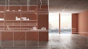 Home renovation, house development concept background, interior design under construction, custom architecture design project,. White ink sketch, blueprint vector illustration