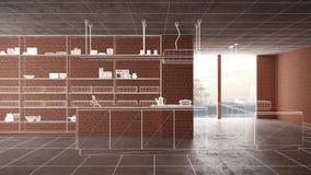 Home renovation, house development concept background, interior design under construction, custom architecture design project,. White ink sketch, blueprint stock illustration