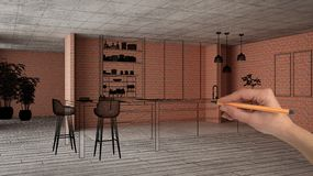 Home renovation, house development concept background, interior design under construction with hand drawing custom architecture,. Black sketch, blueprint vector illustration