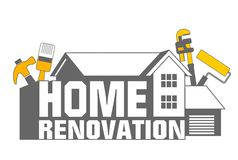 Home Renovation icon. An illustration of home renovation icon and tools Royalty Free Stock Image
