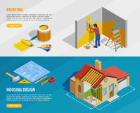 Home Renovation Isometric Horizontal Banners Stock Images