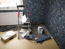 Home renovation, new kitchen room stock photo