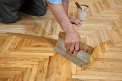 Home renovation, parquet finishing Stock Images