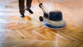 Home renovation, parquet sanding, polishing Royalty Free Stock Photography