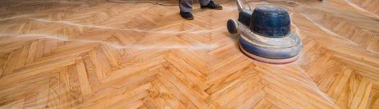 Home renovation, parquet sanding, polishing Royalty Free Stock Image