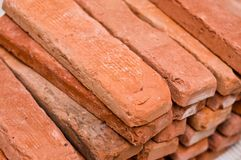 Process of making a red brick wall, home renovation stock photography
