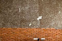 Process of making a red brick wall, home renovation royalty free stock photography