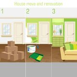 Home renovation and repaintion vector illustration. Interior with renovation tools royalty free illustration