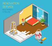 Home renovation service business flat 3d isometric web template Royalty Free Stock Photos