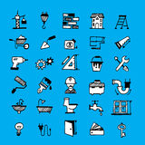Home renovation symbols. Set of constructing hand drawm doodles royalty free illustration