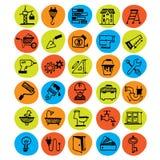 Home renovation symbols. Set of constructing hand drawm doodles stock illustration