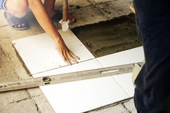 Tile cutting and flooring. Home renovation. Tile cutting and flooring Royalty Free Stock Image