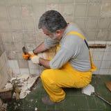 Home renovation, tile demolish Royalty Free Stock Photo