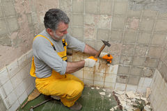Home renovation, tile demolish. Adult worker remove, demolish old tiles in a bathroom with hammer and chisel stock image