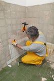Home renovation, tile demolish Stock Image