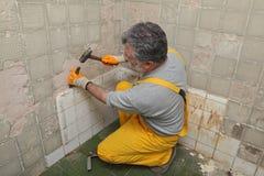 Home renovation, tile demolish Royalty Free Stock Photography